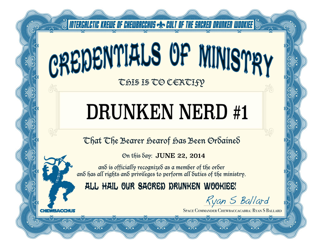 Become an Ordained ChewbacchanALIEN Minister in the Cult of the Sacred Drunken Wookiee