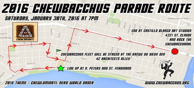 2016 Chewbacchus Parade Route